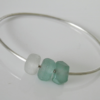 Large Sterling Silver Bangle Glass Beads