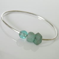 Sterling Silver Bangle Glass Beads