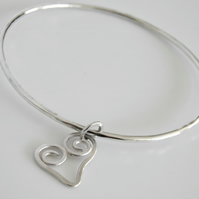 Heart Bangle Sterling Silver