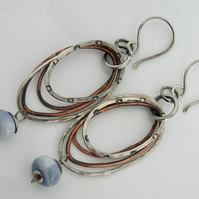 Sterling Silver Blue Opal Earrings