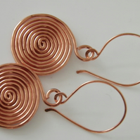 Copper Spiral Earrings