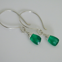 Emerald Green Onyx Earrings
