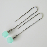 Aqua Blue Chalcedony Threader Earrings