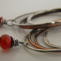 Fire Carnelian Orange Gemstone Earrings in Sterling Silver