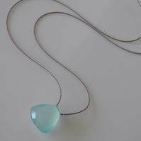 Aqua Blue Chalcedony Necklace Large Gemstone