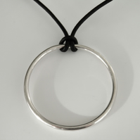 Sterling Silver Necklace on Leather