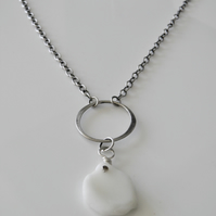 White Sea Glass Necklace Handcrafted with Sterling Silver