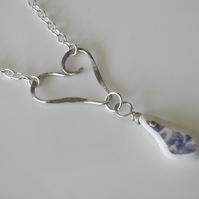 Beach China Necklace Handcrafted with Sterling Silver