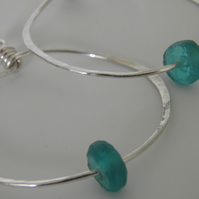 Large Silver Hoop Recycled Glass Bead