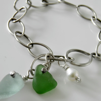 Sea Glass Bracelet in Sterling Silver