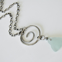 Aqua Sea Glass Necklace Handcrafted with Sterling Silver