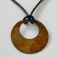 Large Copper Necklace on Leather