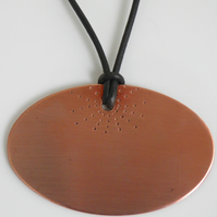 Copper Necklace on Leather, Handcrafted Pendant