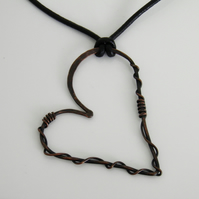 Oxidised Copper Heart Necklace