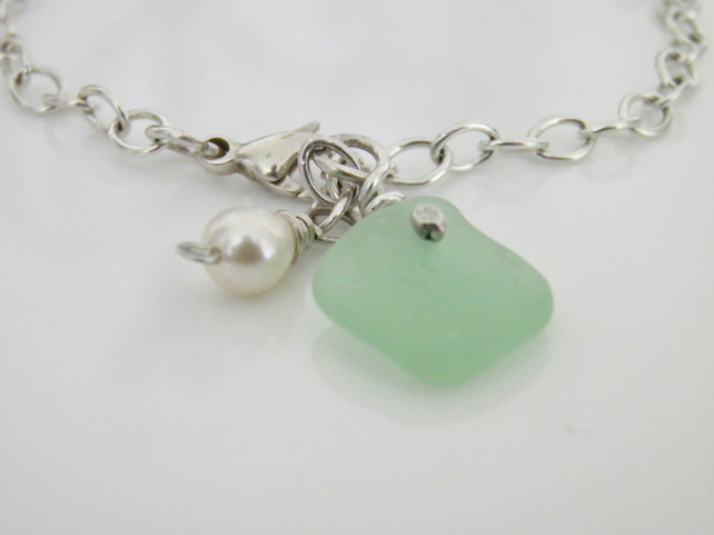 Sterling Silver Sea Glass Bracelet
