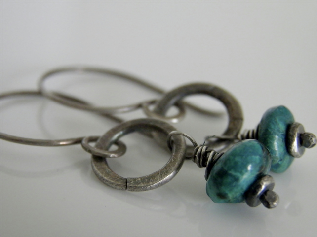 Chrysocolla Earrings in Sterling Silver