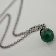 Emerald Green Onyx Necklace In Sterling Silver