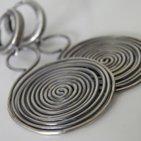 Oxidised Sterling Silver Spiral Earrings