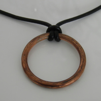 Copper Necklace on Leather