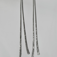 Long Contemporary Sterling Silver Earrings