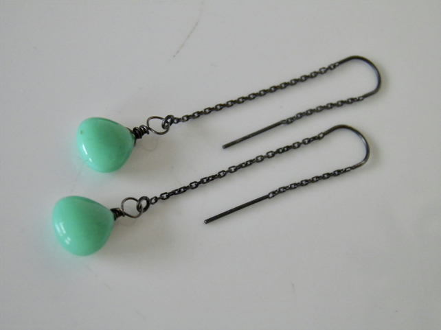 Chrysoprase Threader Earrings