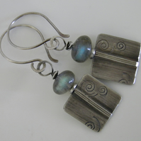 Silver Labradorite Earrings