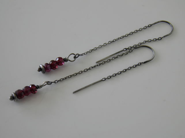 Garnet Threader Earrings