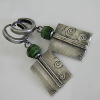 Green Gemstone Earrings in Sterling Silver