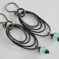 Aqua Chalcedony Oxidised Silver Earrings