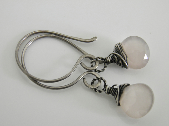 Rose Pink Chalcedony Earrings