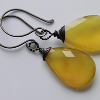 Golden Yellow Chalcedony Earrings