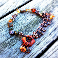 rusty bloom handmade beaded bracelet
