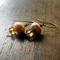 freshwater pearl antique brass earrings - shabby chic earrings, rustic wedding