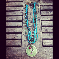 handmade turquoise, sage  and aquamarine necklace with handmade ceramic pendant