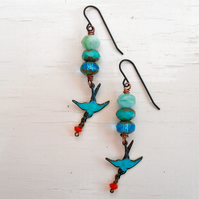 handmade turquoise and orange bird earrings