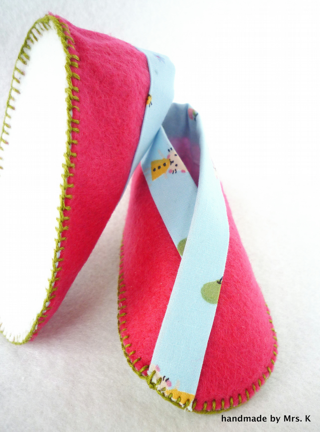 Hot Pink & Blue Baby Booties