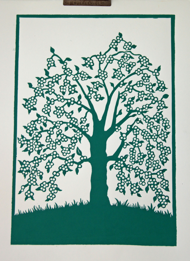 Heavily laden crab apple fruit tree linocut print in green garden