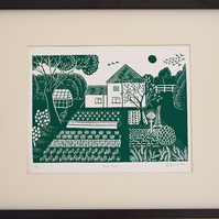 "English country garden lino block print in green, ""Home Grown"""