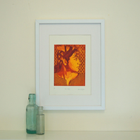 Fine art etching portrait of a lady, printed in profile in red and yellow