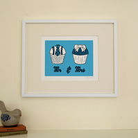 Original linocut print, Valentines gift for him her, mr & mrs cupcake, wedding