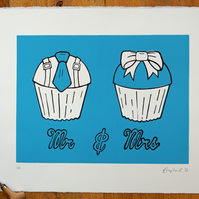 Hand printed linocut Mr & Mrs Cupcake art, perfect Valentines gift for him her