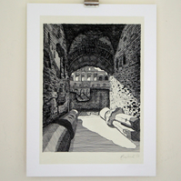 Detailed Rome drawing , Colosseum limited edition Giclee print