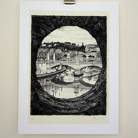 Rome print , Giclee from original pen drawing of bridge over a river in Italy