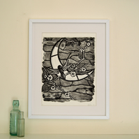 Dragonfly and moon lithograph , black and white , Tiffany stained glass