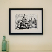 Linocut print Rochester Cathedral , black and white print