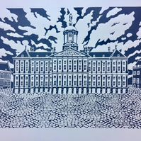 Linocut print Amsterdam Royal Palace in charcoal grey