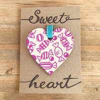Sweet Heart linocut print Valentines card with hand printed hanging wooden heart