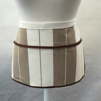 Half Apron in Brown and Cream Stripes, Peg Bag Apron, Crafter's Apron