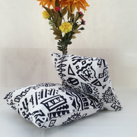 Navy & White, Vintage, Printed Cotton, Zippped Cushion Cover