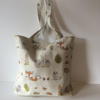 Cotton Tote Bag in Woodland Creatures Cotton Fabric